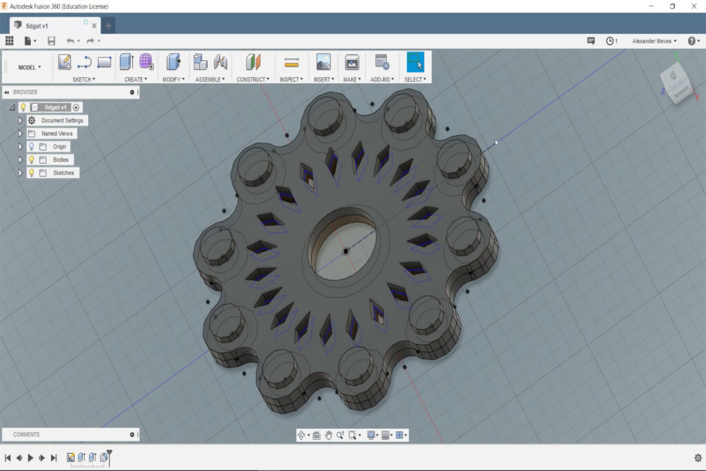 Fidget Spinner 3D Design in Fusion 360