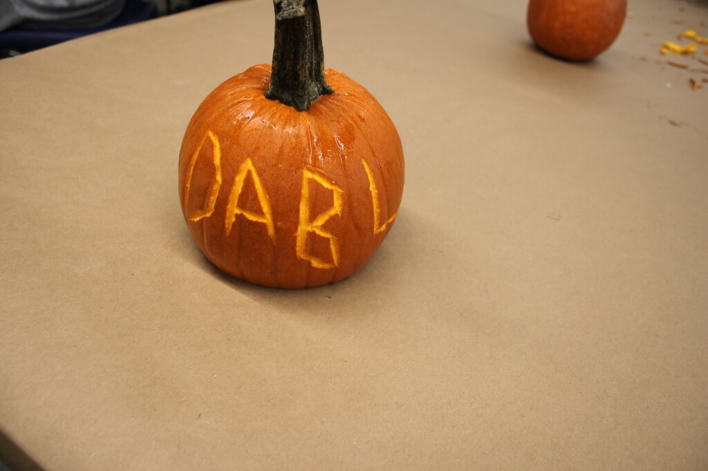 Pumpkin carved with the word DaBL